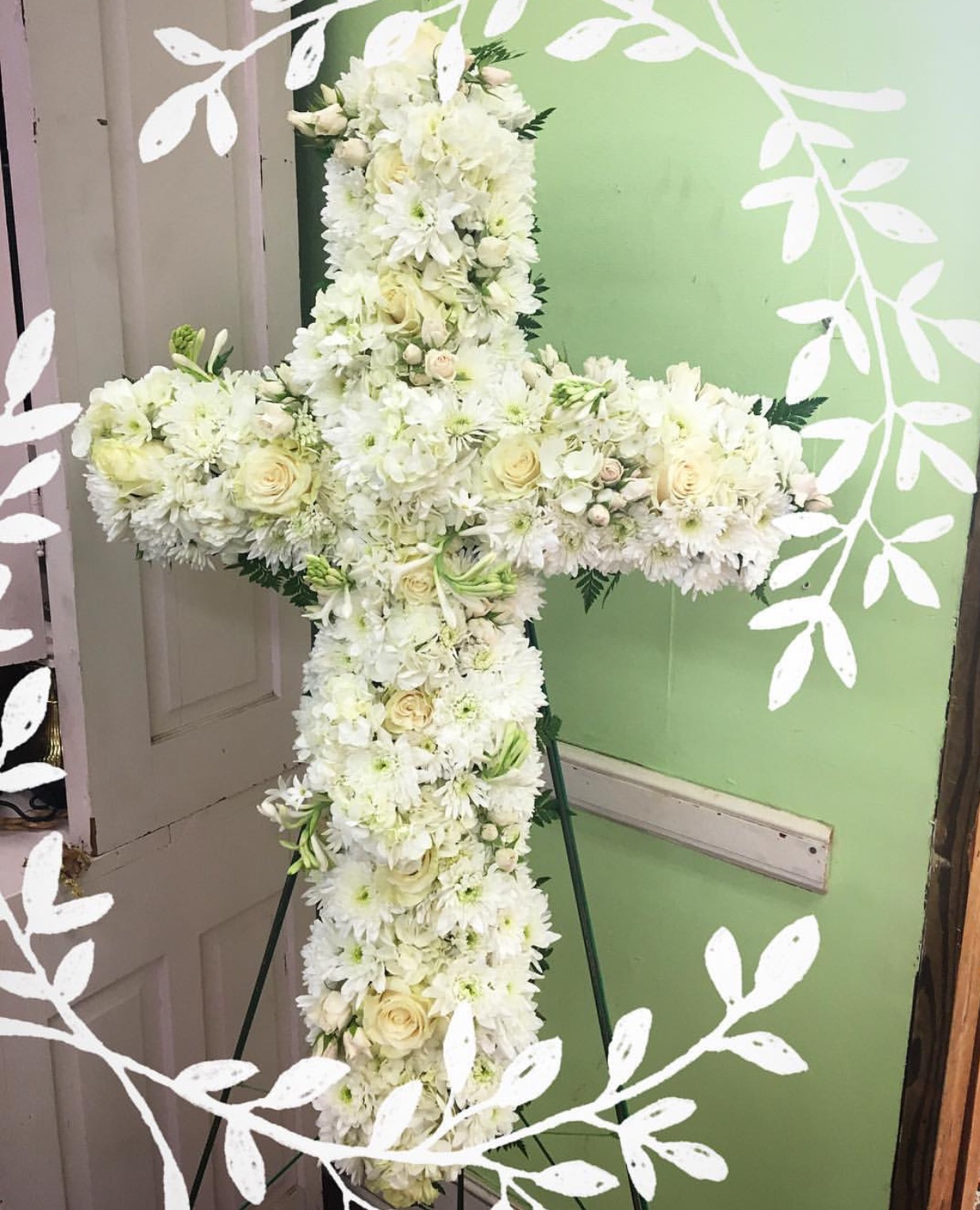 Funeral sprays crosses and plants rachels flowers all white funeral cross izmirmasajfo
