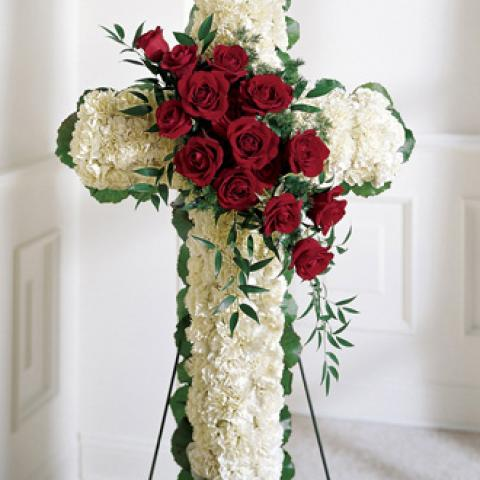 White Cross with Red Rose 401