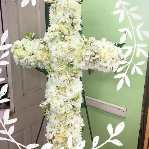 All White Funeral Cross